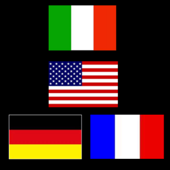bandiere di Italia, USA, Germania e Francia